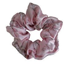 100% silk hair scrunchie hair accessories soft ponytail holder pink floral