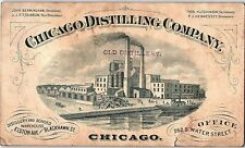 1881 Engraved Chicago Distillery Factory Company Trade Card P136