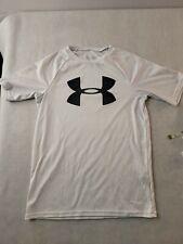Under Armour Youth Loose Sz LG White Athletic Tshirt Short Sleeve