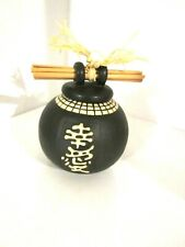 Decorative Black Ceramic Jar/ Lid with Raised Asian Design 5""