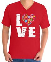 Autism Awareness V-neck T shirts Shirts Tops Men's Love Puzzle