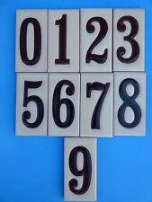 "Ceramic Art Tile House Address Numbers 2""x4"" Black Numbers on Cream Background"