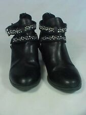 Justice Children's Black Ankle Boot Sz 1 Silver Rhinestones Strap & Zippers