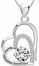 "ALOV Silver ""Brother and sister forever love"" Double Love Heart Pendant Necklace"