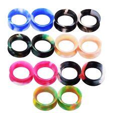 2X Body Piercing Ear Flesh Tunnels Plugs Silicone Flexible Mix Colors Earskin