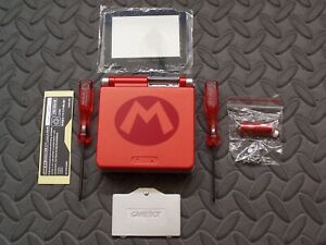 Red/Silver Super Mario GBA SP Replacement Housing Shell,New Glass Lens