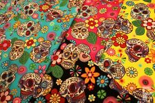 100% COTTON POPLIN FABRIC WITH SUGAR SKULLS - MEXICAN DAY OF THE DEAD -HALLOWEEN