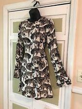 H&M Brand Adoable Multicolor Long Sleeve Knee Length Animal Print Dress Sz 6