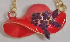 RED HAT CHARM NECKLACE W/ GOLD CHAIN & PURPLE CRYSTALS FOR LADIES OF SOCIETY