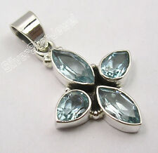 """.925 Pure Silver Classic Faceted Blue Topaz Tibetan Pendant 1.3"""" Ancient Style"""