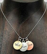 Wish Dream Believe Inspirational Charm Necklace with Chain