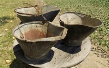 3 Coal Buckets Vintage Galvanized Ash Scoop Flower Planter Pot Primitive Decor f