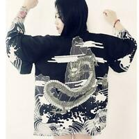Kimono Prints Cardigan Shirt Vintage Japanese Style Blouse Wave Wind Dragon Q