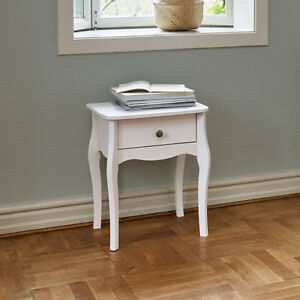 Pair Of Lyon French Style White 1 Drawer Bedside Table Cabinet 45cm 55cm 35cm