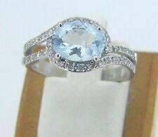 NEW 14 KARAT WHITE GOLD  BLUE TOPAZ &  DIAMOND RING SIZE 6 3/4 M12