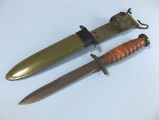 """WWII M3 Trench Knife 211133 Stacked Leather fixed blade dagger 11 5/8"""" overall"""
