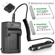 Kastar 2X NB-6LH Battery + Charger For Canon Powershot SD1300 SX500 IS SX260 HS