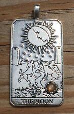 Moon Tarot Card Pendant .925 Sterling Silver w/ Genuine Peach Moonstone gemstone