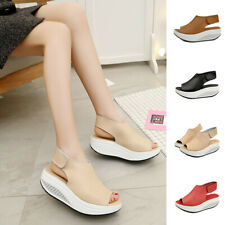 New Women Summer Platform Wedge Heel Shoes Leather Ankle Strap Sandals Casual