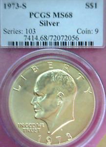 1973-S PCGS MS68 Silver Eisenhower ~Very Nice!