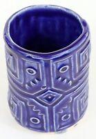 """Studio Pottery Tumbler Vase Pen Holder Slab 4.25"""" Handcrafted Signed L C EUC"""