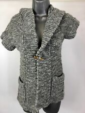 WOMEN'S ABERCROMBIE & FITCH GREY SHORT SLEEVE BUTTON UP HOODED CARDIGAN SIZE XS