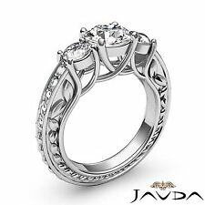 Trellis 3 Stone Round Diamond Engagement Filigree Ring GIA F SI1 Platinum 1.45ct