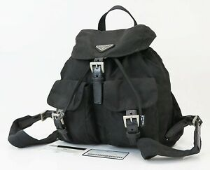 Authentic PRADA Black Nylon and Leather Backpack Bag Purse #39826