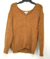 BP Womens V-Neck Eyelash Chenille Sweater Rust Brown Knit Soft Cozy NWT $48