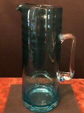 "Rare Vintage KROSNO Poland 11.5"" Tall Blue Ribbed Blown Glass/Crystal Pitcher"
