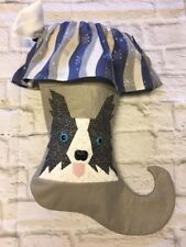 Christmas Stocking Border Collie Dog Pieced Quilt Blue Snowflakes Fun!