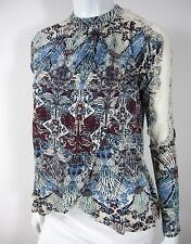 FREE PEOPLE long sleeve blouse TOP S small lace shoulder blue brown paisley
