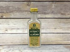 Vintage Watkins Extract of Almond Clear Glass Bottle with Lid & Label