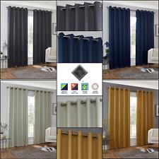 Blockout Curtains Thermal Plain Hudson Eyelet Curtain Ready Made Ring Top Pairs