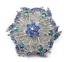 Sparkling Bridal Wedding Brooch Pin Blue Fine Austrian Rhinestone Crystal