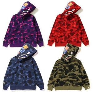 A Bathing Ape Bape Kids Boy Girl Camo Shark WGM Jacket Sweatshirts Hoodies