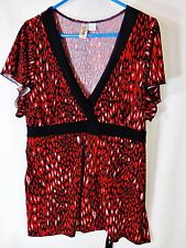 Leopard Print Blouse Shirt Plus Size 3X L8ter Red/Black Top