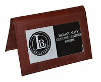 CREDIT CARD ID HOLDER 2 INSIDE OUTSIDE WINDOWS SLIM NEW GENUINE LEATHER