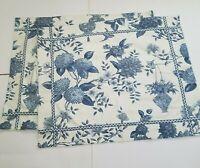 2 Waverly Williamsburg Lightfoot House Standard Shams Floral Birds Blue on Ivory