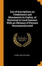 List of Inscriptions on Tombstones and Monument, Lewis-,