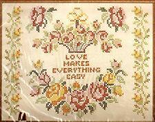 """Vintage Paragon """"Love"""" Cottage Chic Roses Stamped Cross Stitch Linen Sampler Kit"""