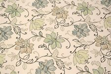 Art Deco Blue Scribbled Floral Upholstery Drapery Print 100% Cotton Fabric