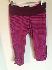Lululemon Run for Your Life Crop Raspberry Glo Pink Plum Hyper Stripe Size 6