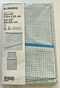 "New IKEA KLAMMIG Crib duvet cover/pillowcase, turquoise 43 x 49"" / 14 x 22 """