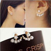 2020 New Chic Fashion Women Gold Pearl Rhinestone Crystal Ear Stud Cuff Earrings