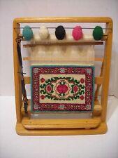 Vintage Miniature Rug Loom Sample Wool Rug & Weaving Tool, Table Top Display