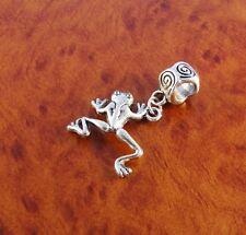Frog dangle charm slider bead for silver European charm bracelet or necklace