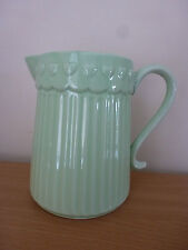 Gisela Graham Pale Green Ceramic Ribbed Water Jug With Hearts 19.5x14x18cm