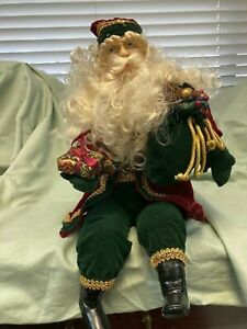 Traditional Christmas FLEXIBLE Santa with Elegant Red, Green, & Gold Clothing