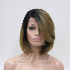 Lace Front Wig L Part Black Ombre Light Strawberry Blonde Angled Bob Wig Heat Ok